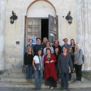 With Bozena Szroeder (center) in front of the Sejny synagogue
