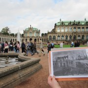 The Royal Palace now and just after the bombings.