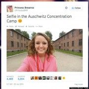 """Breanna Mitchell's selfie from the Auschwitz Concentration Camp which led her to be attacked by many on social media"" Source: The Huffington Post"