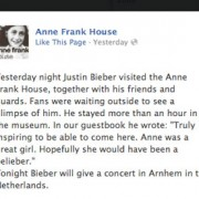 """The message Justin Bieber wrote in the guestbook at Anne Frank's House"" Source: The Guardian"