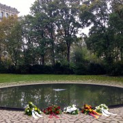 Reflection pool at the Memorial to the Sinti and Roma Victims under National Socialism