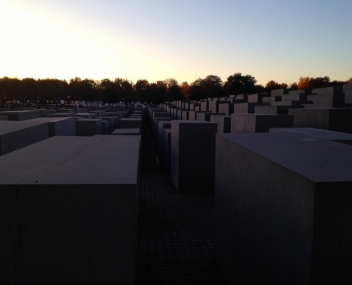 Sunset on the stelae at the Memorial to the Murdered Jews of Europe