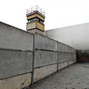 The only preserved part of the wall that includes both the death strip and watchtower at the Berlin Wall Memorial