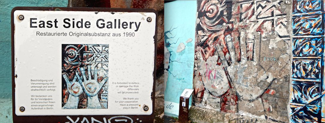 A side-by-side comparison of the original painting at the Wall and its current deteriorated state. This is an example of the minimal preservation effort at the East Side Gallery
