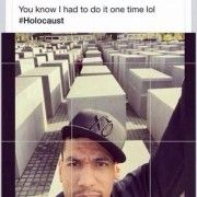 """""""Danny Green (member of the Spurs' basketball team) takes an inappropriately captioned selfie at the Berlin Memorial to the Murdered Jews"""" Source: Daily Mail"""