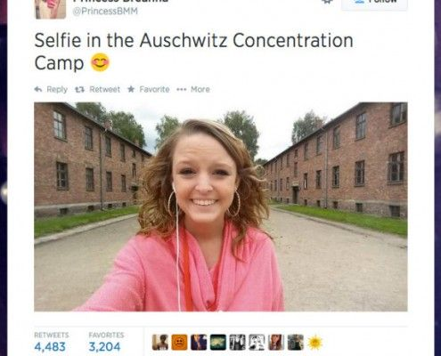 """""""Breanna Mitchell's selfie from the Auschwitz Concentration Camp which led her to be attacked by many on social media"""" Source: The Huffington Post"""