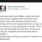 """""""The message Justin Bieber wrote in the guestbook at Anne Frank's House"""" Source: The Guardian"""