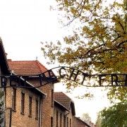 The infamous 'Arebeit Macht Frei' sign at Auschwitz I