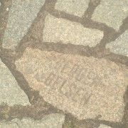 One of the stones at the memorial to the Roma and Sinti, displaying that they were killed at Bergen-Belsen_