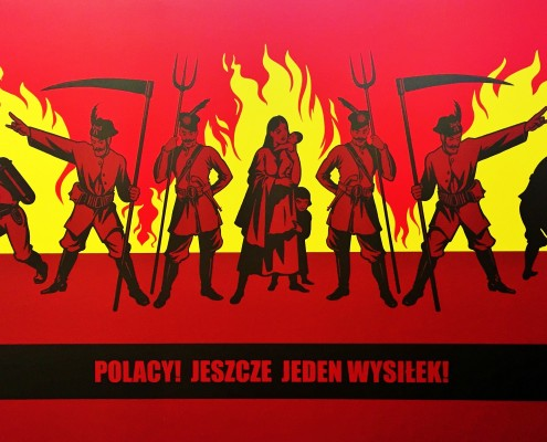 Tomasz Kozak's mural entitled Poles! One More Effort! is being shown at the Galeria Labyrint in Lublin, Poland. The artist uses motifs of Polish Romanticism to condemn anti-Semitism