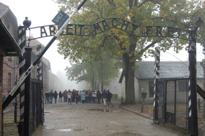 The infamous Arbeit Macht Frei - Work Makes (You) Free - entrance to Auschwitz.