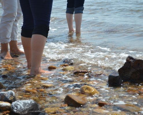 Feet in the Dead Sea. Photo by Frances Huang