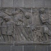 The back of the memorial to the fighters of the Warsaw Ghetto uprising, to acknowledge the oppression of the Jews at the hands of the Nazis