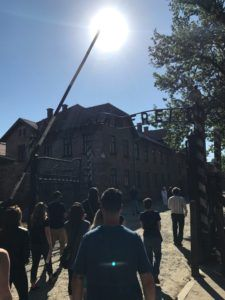 The entrance gate into Auschwitz