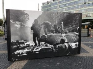 One of the enlarged pictures of the Prague Spring in front of the Presidential (Bratislava, Slovakia)