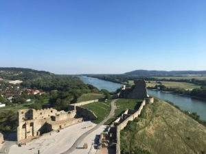 The view from the top of Devin Castle overlooking the Danube.
