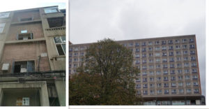 "Similar public housing projects in socialist countries. The one on the left is from Beijing and the right one from Berlin. We call this typical style as ""matchboxes""."