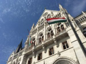 The Hungarian Flag waving from Parliament in September 2018.