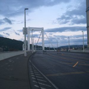 Crossing the Elizabeth Bridge. Gellert Hill is partially visible in the background.