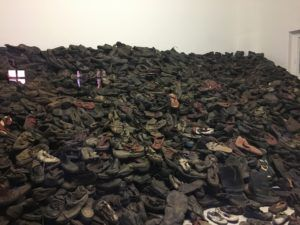 Shoes that were taken from prisoners upon their arrival at Auschwitz preserved in Auschwitz.