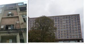 """Similar public housing projects in socialist countries. The one on the left is from Beijing and the right one from Berlin. We call this typical style as """"matchboxes""""."""