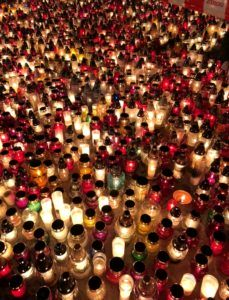 A sea of grave lanterns placed at Grabiszyński Cemetery for All Saints Day.