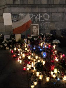This is the unofficial memorial to Piotr Szczesny, who died after lighting himself on fire in protest against Poland's Law and Justice party.