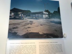 Photo at the Galicia Jewish Museum of a Gas Station that Covers a Ruined Jewish Graveyard