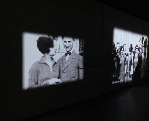 More short films of Jewish life Prior to the Third Reich, these movies are on every inch of the walls in a long room.