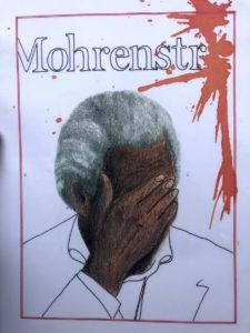"Painting by German-African activist that expresses the pain of the word ""Mohrenstrabe"" a racist term. (Moore)"