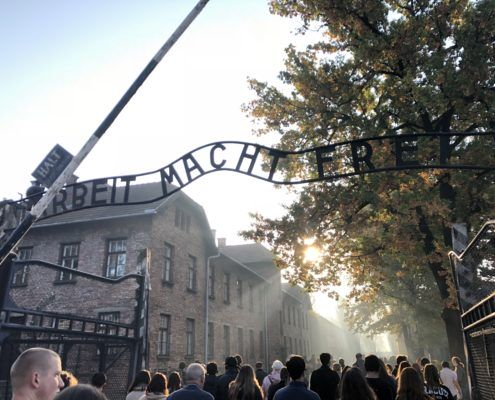 Entrance to Auschwitz Concentration Camp.