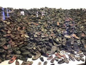 A pile of shoes previously owned by prisoners of Auschwitz that was kept by the Nazis.