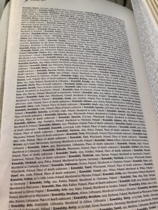 """A page from the """"Book of Names"""" in Block 27, currently recording 4.2 million names, birth dates, home towns, and places of death of Holocaust victims."""