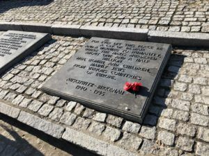 One of the plaques for the memorial built after the Holocaust inside Birkenau.