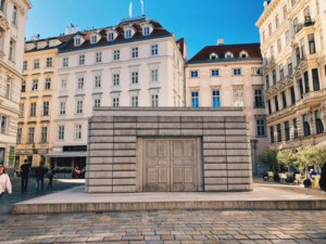 "The Judenplatz Holocaust Memorial or the ""Nameless Library"" in Vienna Austria"