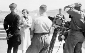Leni Riefenstahl with Heinrich Himmler and her Camera crew at the Nuremberg rallies, 1934