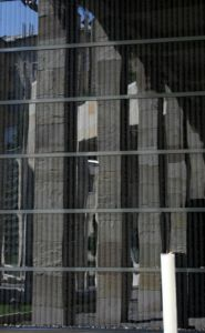 A mirrored wall comprised of names of Hungarian Holocaust victims