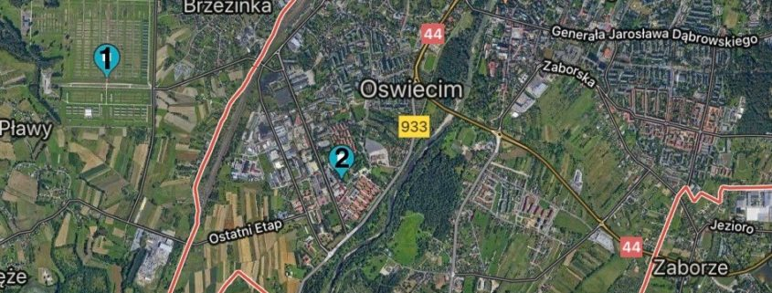 Map of the town of Oswiecim, with its borders in orange. The marker #1 shows where Auschwitz-Birkenau is located just outside of the town, and #2 is Auschwitz-I, which sits within the town borders