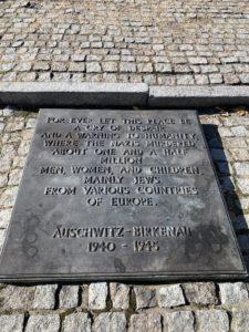 Memorial Plaque at Auschwitz-Birkenau