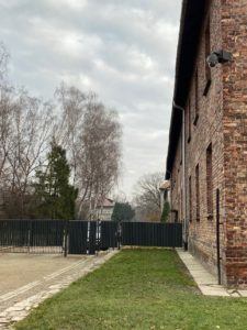 Photo of a home visible from a crematorium at Auschwitz I