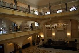 The sanctuary of the White Stork Synagogue in Wroclaw, set up for a concert