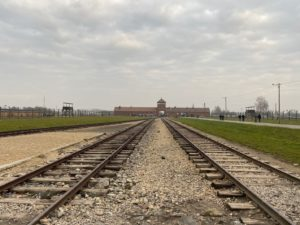 Train tracks and gate of Auschwitz-Birkenau