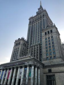 The Palace of Culture and Science in Warsaw, erected at the direction of Stalin as a 'gift' to Poland following World War II