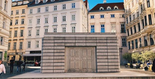 "The Judenplatz Holocaust Memorial or the ""Nameless Library"" in Vienna Austria"